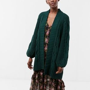 Express long open cardigan dark green size XS BNWT